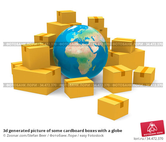 3d generated picture of some cardboard boxes with a globe. Стоковое фото, фотограф Zoonar.com/Stefan Beer / easy Fotostock / Фотобанк Лори
