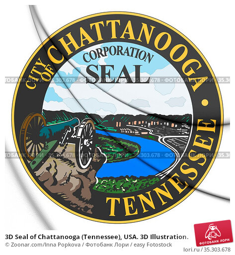 3D Seal of Chattanooga (Tennessee), USA. 3D Illustration. Стоковое фото, фотограф Zoonar.com/Inna Popkova / easy Fotostock / Фотобанк Лори