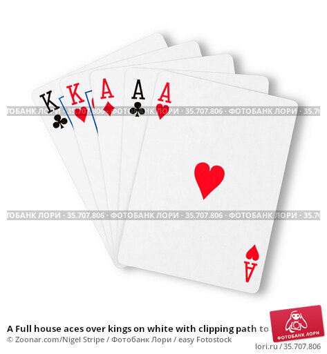 A Full house aces over kings on white with clipping path to remove... Стоковое фото, фотограф Zoonar.com/Nigel Stripe / easy Fotostock / Фотобанк Лори