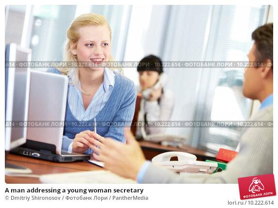 Купить «A man addressing a young woman secretary», фото № 10222614, снято 23 апреля 2019 г. (c) PantherMedia / Фотобанк Лори
