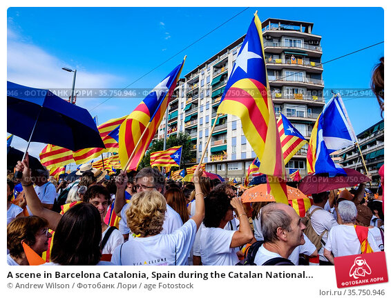 A scene in Barcelona Catalonia, Spain during the Catalan National... (2015 год). Редакционное фото, фотограф Andrew Wilson / age Fotostock / Фотобанк Лори