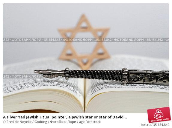 A silver Yad Jewish ritual pointer, a Jewish star or star of David... Стоковое фото, фотограф Fred de Noyelle / Godong / age Fotostock / Фотобанк Лори