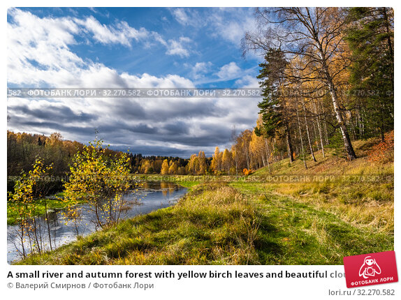 Купить «A small river and autumn forest with yellow birch leaves and beautiful clouds», фото № 32270582, снято 5 октября 2019 г. (c) Валерий Смирнов / Фотобанк Лори