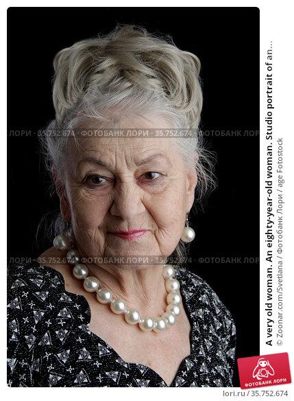 A very old woman. An eighty-year-old woman. Studio portrait of an... Стоковое фото, фотограф Zoonar.com/Svetlana / age Fotostock / Фотобанк Лори
