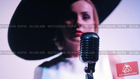 Купить «A woman in big black elegant hat walks to the mic and starts singing», видеоролик № 29536698, снято 11 декабря 2018 г. (c) Константин Шишкин / Фотобанк Лори