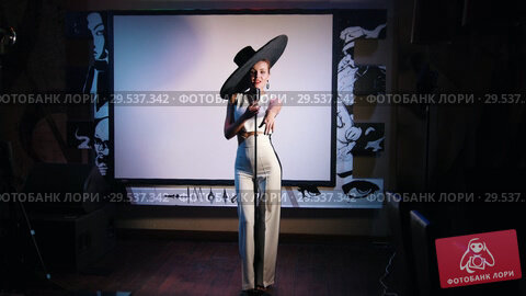 Купить «A woman in big retro hat standing on the stage and singing with a mic», видеоролик № 29537342, снято 11 декабря 2018 г. (c) Константин Шишкин / Фотобанк Лори