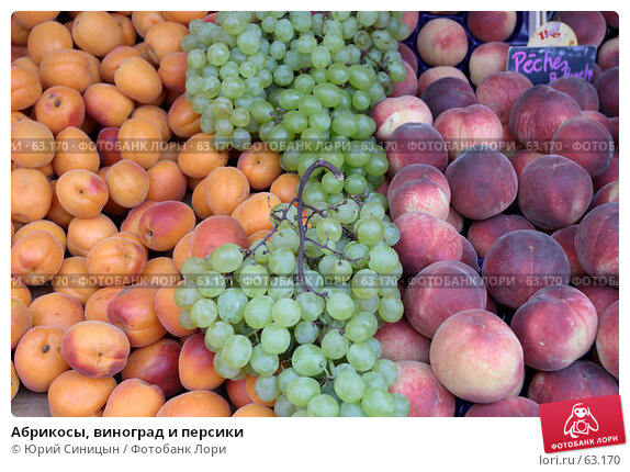 Абрикосы, виноград и персики, фото № 63170, снято 20 июня 2007 г. (c) Юрий Синицын / Фотобанк Лори