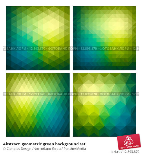 Купить «Abstract  geometric green background set», иллюстрация № 12893870 (c) PantherMedia / Фотобанк Лори