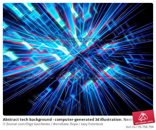Abstract tech background - computer-generated 3d illustration. Neon... Стоковое фото, фотограф Zoonar.com/Olga Gavrilenko / easy Fotostock / Фотобанк Лори