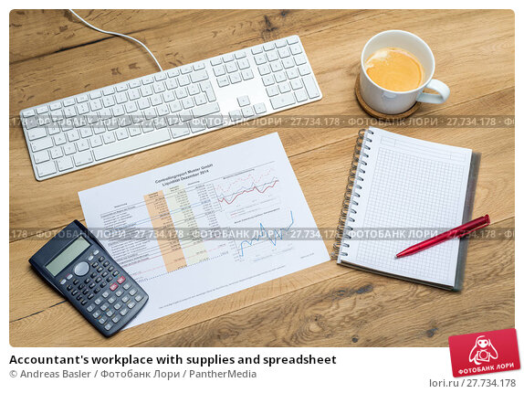 Купить «Accountant's workplace with supplies and spreadsheet», фото № 27734178, снято 17 марта 2018 г. (c) PantherMedia / Фотобанк Лори