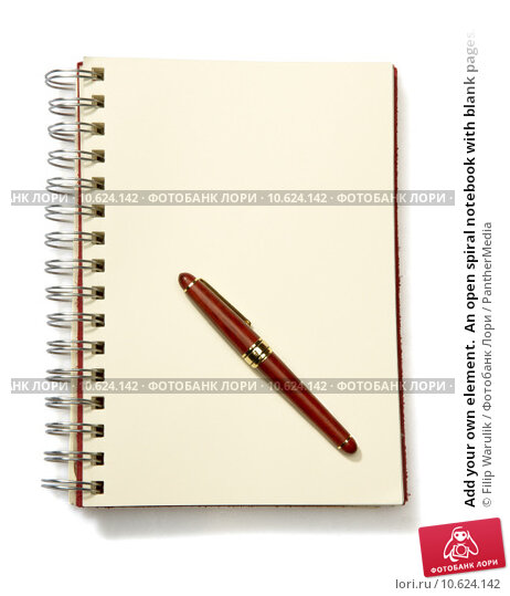 Add your own element.  An open spiral notebook with blank pages. Стоковое фото, фотограф Filip Warulik / PantherMedia / Фотобанк Лори