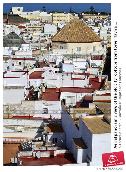 Aerial panoramic view of the old city rooftops from tower Tavira ... Стоковое фото, фотограф Frederic Soreau / age Fotostock / Фотобанк Лори