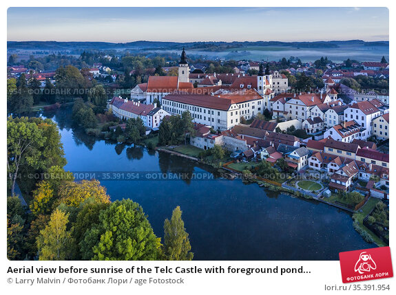 Aerial view before sunrise of the Telc Castle with foreground pond... Стоковое фото, фотограф Larry Malvin / age Fotostock / Фотобанк Лори