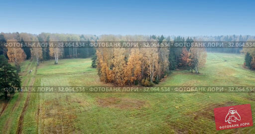 Aerial view of autumn forest. Fall landscape with red, yellow and green trees and fields with a mowed grass in sunny day. Стоковое видео, видеограф Куликов Константин / Фотобанк Лори