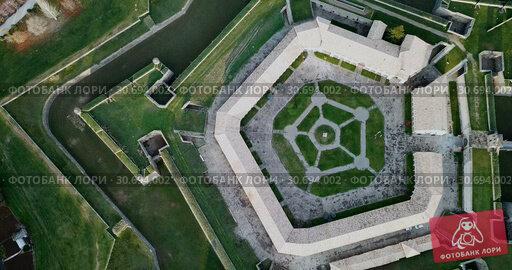 Купить «Aerial view of famous Citadel of Jaca on background of cityscape in sunny autumn day, Spain», видеоролик № 30694002, снято 26 декабря 2018 г. (c) Яков Филимонов / Фотобанк Лори