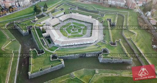 Купить «Aerial view of famous Citadel of Jaca on background of cityscape in sunny autumn day, Spain», видеоролик № 30943550, снято 23 декабря 2018 г. (c) Яков Филимонов / Фотобанк Лори