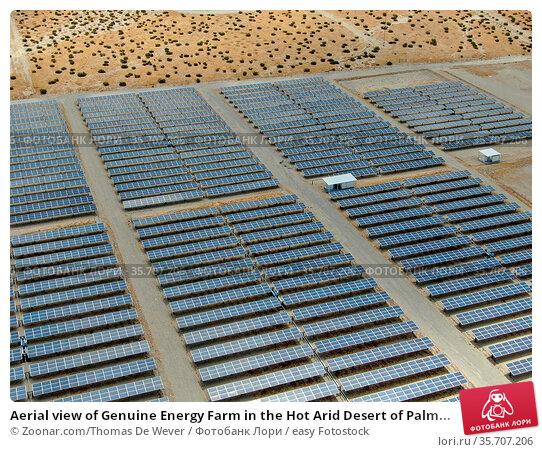 Aerial view of Genuine Energy Farm in the Hot Arid Desert of Palm... Стоковое фото, фотограф Zoonar.com/Thomas De Wever / easy Fotostock / Фотобанк Лори