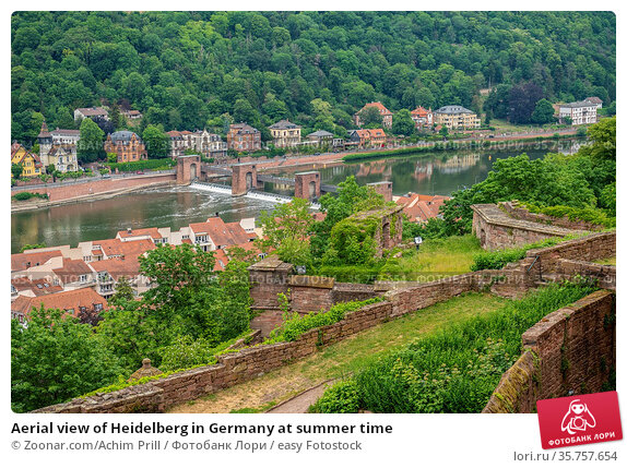 Aerial view of Heidelberg in Germany at summer time. Стоковое фото, фотограф Zoonar.com/Achim Prill / easy Fotostock / Фотобанк Лори