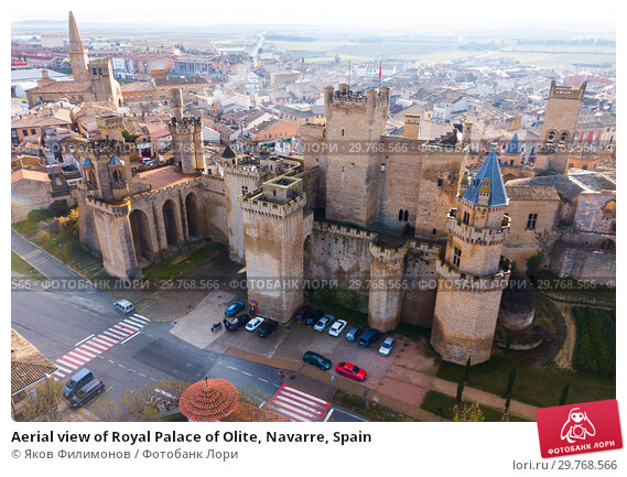 Купить «Aerial view of Royal Palace of Olite, Navarre, Spain», фото № 29768566, снято 3 декабря 2018 г. (c) Яков Филимонов / Фотобанк Лори