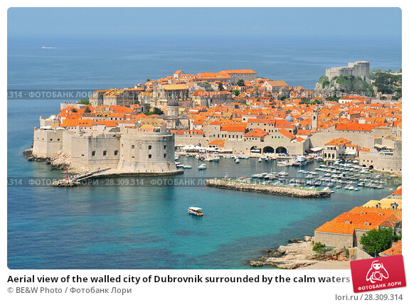 Купить «Aerial view of the walled city of Dubrovnik surrounded by the calm waters of the Adriatic Sea, Croatia», фото № 28309314, снято 23 апреля 2019 г. (c) BE&W Photo / Фотобанк Лори