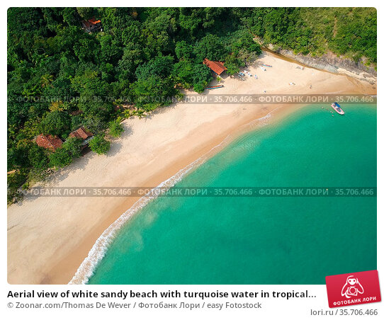Aerial view of white sandy beach with turquoise water in tropical... Стоковое фото, фотограф Zoonar.com/Thomas De Wever / easy Fotostock / Фотобанк Лори