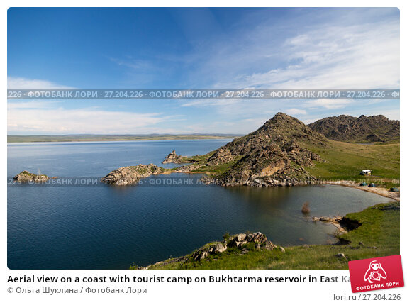 Купить «Aerial view on a coast with tourist camp on Bukhtarma reservoir in East Kazakhstan», фото № 27204226, снято 21 мая 2015 г. (c) Ольга Шуклина / Фотобанк Лори