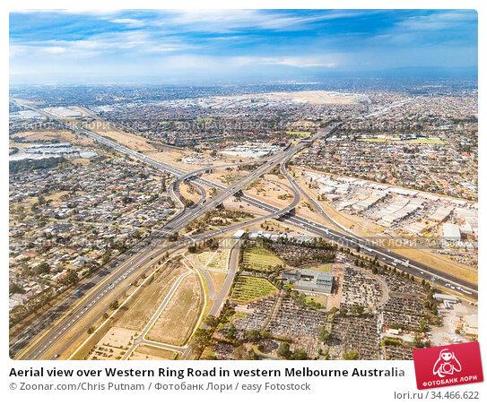 Aerial view over Western Ring Road in western Melbourne Australia. Стоковое фото, фотограф Zoonar.com/Chris Putnam / easy Fotostock / Фотобанк Лори