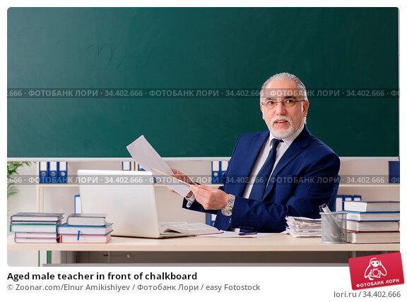 Aged male teacher in front of chalkboard. Стоковое фото, фотограф Zoonar.com/Elnur Amikishiyev / easy Fotostock / Фотобанк Лори