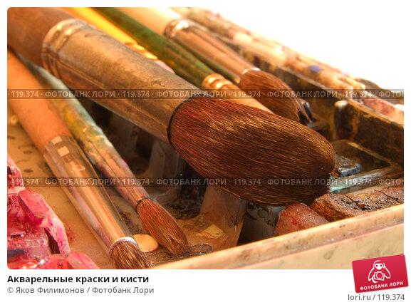 Купить «Акварельные краски и кисти», фото № 119374, снято 10 ноября 2007 г. (c) Яков Филимонов / Фотобанк Лори