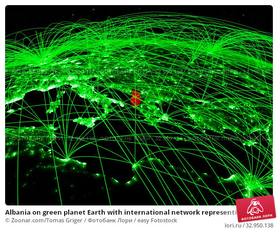 Albania on green planet Earth with international network representing communication, travel and connections. 3D illustration. Elements of this image furnished by NASA. Стоковое фото, фотограф Zoonar.com/Tomas Griger / easy Fotostock / Фотобанк Лори