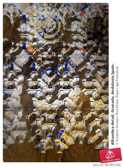 Alhambra detail, Granada, Andalusia,Spain. Стоковое фото, фотограф Frederic Soreau / age Fotostock / Фотобанк Лори