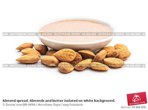 Almond spread. Almonds and butter isolated on white background. Стоковое фото, фотограф Zoonar.com/JIRI HERA / easy Fotostock / Фотобанк Лори
