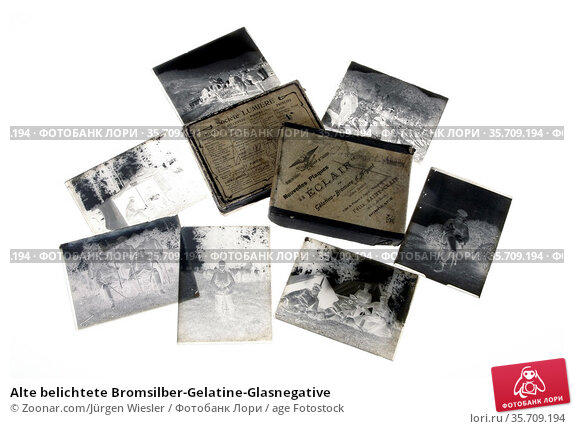 Alte belichtete Bromsilber-Gelatine-Glasnegative. Стоковое фото, фотограф Zoonar.com/Jürgen Wiesler / age Fotostock / Фотобанк Лори