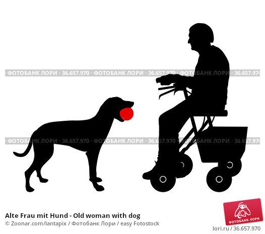 Alte Frau mit Hund - Old woman with dog. Стоковое фото, фотограф Zoonar.com/lantapix / easy Fotostock / Фотобанк Лори