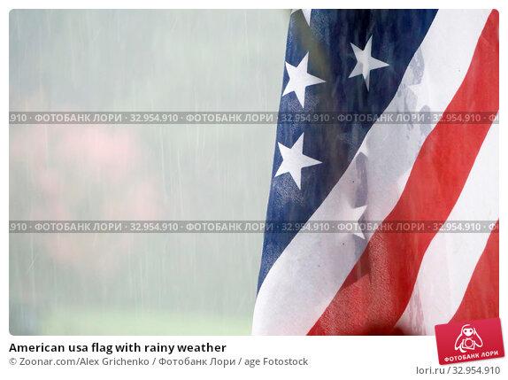 American usa flag with rainy weather. Стоковое фото, фотограф Zoonar.com/Alex Grichenko / age Fotostock / Фотобанк Лори
