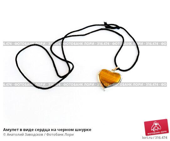 Купить «Амулет в виде сердца на черном шнурке», фото № 316474, снято 18 мая 2006 г. (c) Анатолий Заводсков / Фотобанк Лори