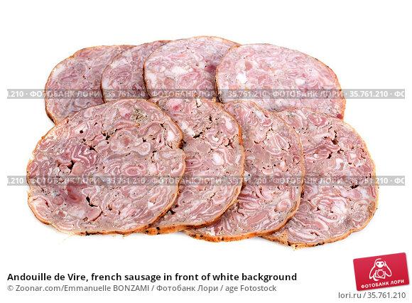 Andouille de Vire, french sausage in front of white background. Стоковое фото, фотограф Zoonar.com/Emmanuelle BONZAMI / age Fotostock / Фотобанк Лори