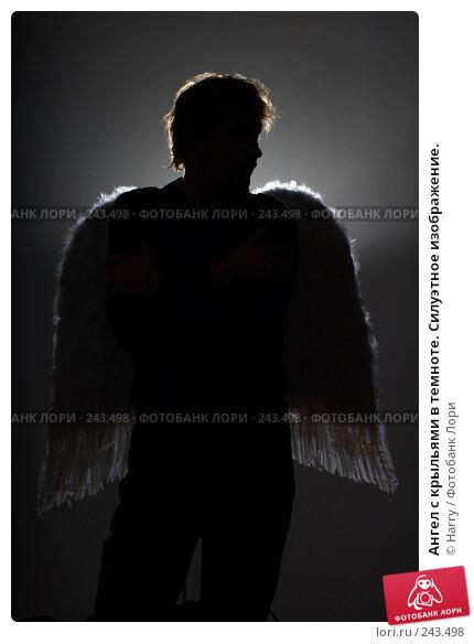 Ангел с крыльями в темноте. Силуэтное изображение., фото № 243498, снято 23 июля 2007 г. (c) Harry / Фотобанк Лори