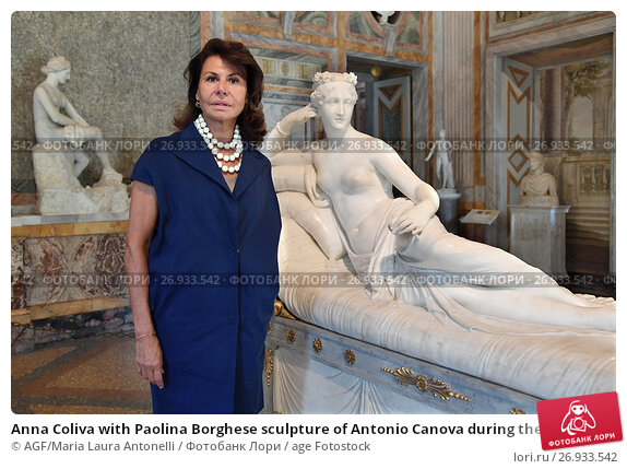 Купить «Anna Coliva with Paolina Borghese sculpture of Antonio Canova during the press conference to present the partnership between Galleria Borghese and Fendi...», фото № 26933542, снято 13 сентября 2017 г. (c) age Fotostock / Фотобанк Лори