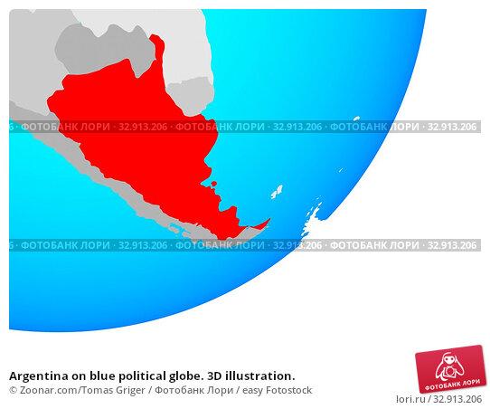 Argentina on blue political globe. 3D illustration. Стоковое фото, фотограф Zoonar.com/Tomas Griger / easy Fotostock / Фотобанк Лори