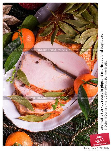 Купить «aromatic turkey roast in piquant marinade and bay laurel», фото № 27595826, снято 27 июня 2019 г. (c) PantherMedia / Фотобанк Лори