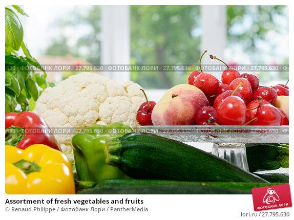 Купить «Assortment of fresh vegetables and fruits», фото № 27795630, снято 20 февраля 2018 г. (c) PantherMedia / Фотобанк Лори