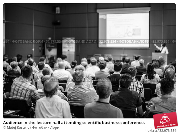 Купить «Audience in the lecture hall attending scientific business conference.», фото № 32973554, снято 3 июля 2014 г. (c) Matej Kastelic / Фотобанк Лори