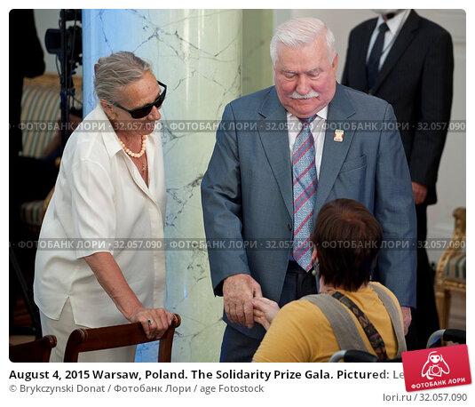 August 4, 2015 Warsaw, Poland. The Solidarity Prize Gala. Pictured: Lech Walesa and actress Maja Komorowska. Редакционное фото, фотограф Brykczynski Donat / age Fotostock / Фотобанк Лори