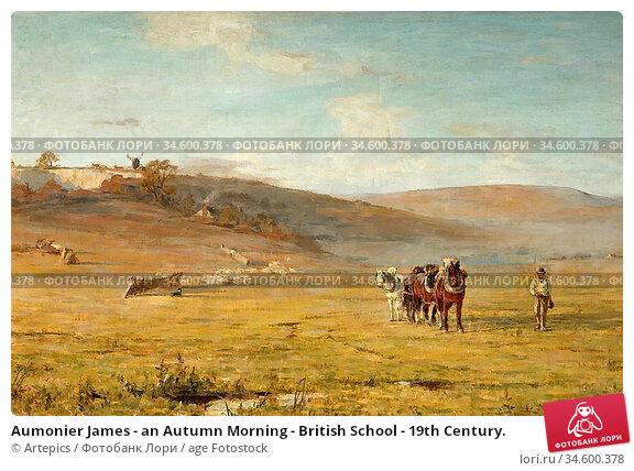Aumonier James - an Autumn Morning - British School - 19th Century. Стоковое фото, фотограф Artepics / age Fotostock / Фотобанк Лори
