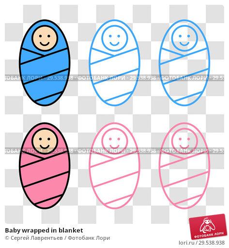 Купить «Baby wrapped in blanket», иллюстрация № 29538938 (c) Сергей Лаврентьев / Фотобанк Лори