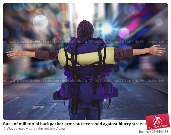 Купить «Back of millennial backpacker arms outstretched against blurry street with flares and bokeh», фото № 26644166, снято 21 марта 2019 г. (c) Wavebreak Media / Фотобанк Лори
