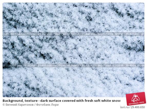 Купить «Background, texture - dark surface covered with fresh soft white snow», фото № 29400650, снято 2 ноября 2018 г. (c) Евгений Харитонов / Фотобанк Лори