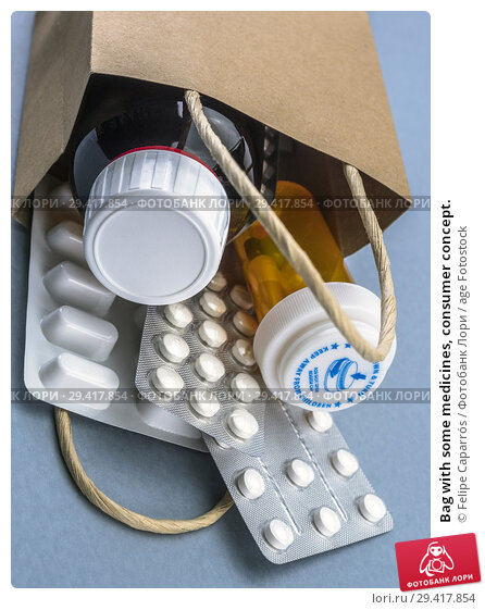 Купить «Bag with some medicines, consumer concept.», фото № 29417854, снято 23 октября 2018 г. (c) age Fotostock / Фотобанк Лори