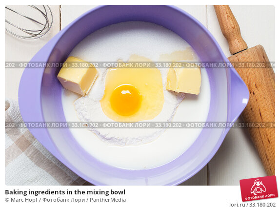Купить «Baking ingredients in the mixing bowl», фото № 33180202, снято 30 мая 2020 г. (c) PantherMedia / Фотобанк Лори